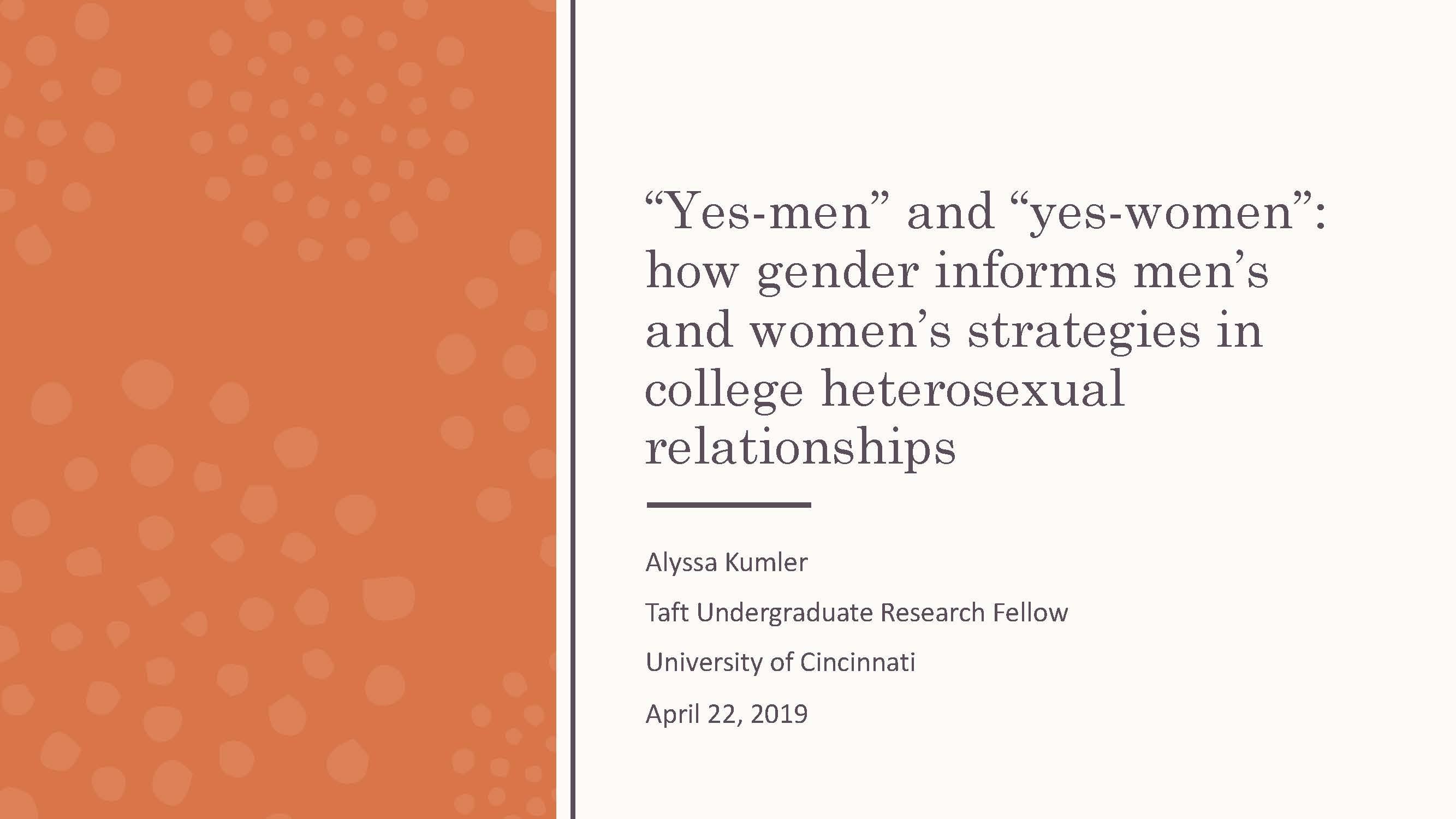 how gender informs men's and women's strategies in heterosexual college relationships